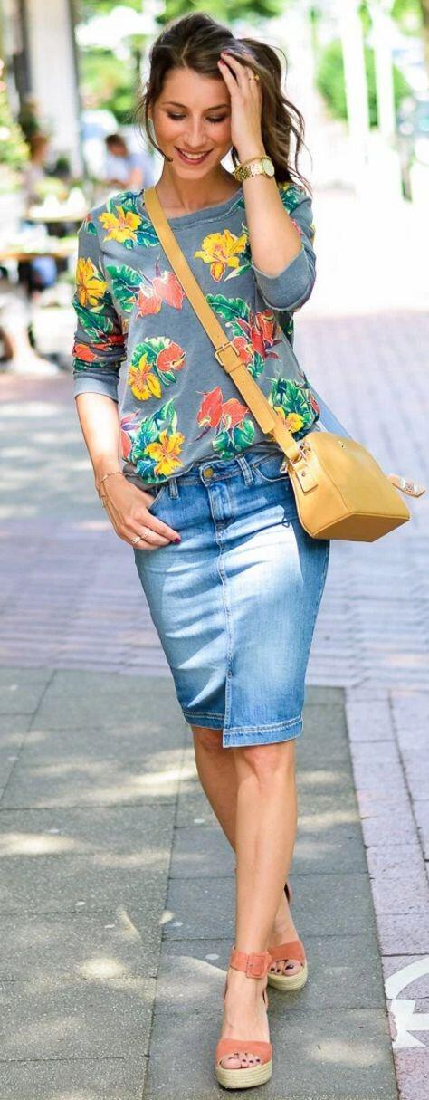 25 grown up ways to wear a denim skirt 1 - 25 grown up ways to wear a denim skirt