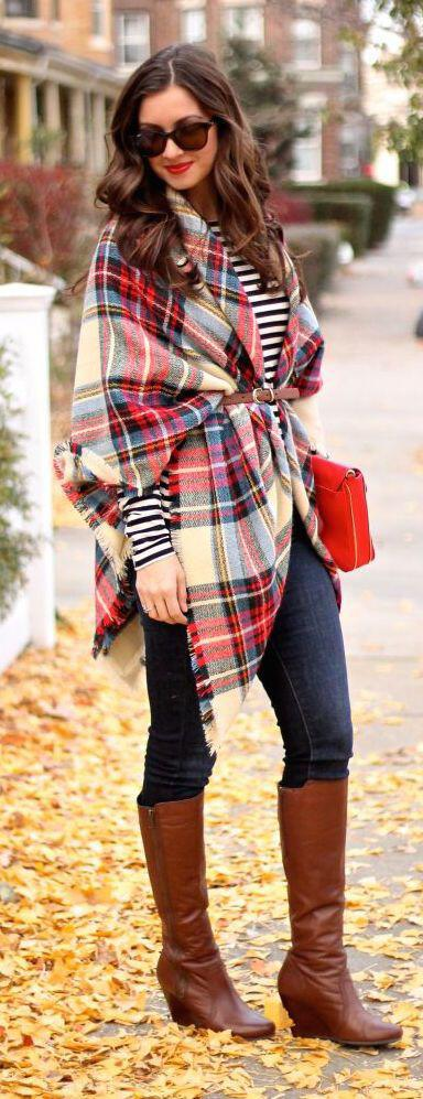 15 cute plaid blanket scarf outfits for fall 11 - 15 cute plaid blanket scarf outfits for fall