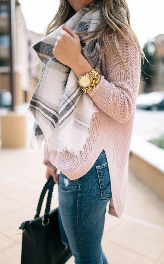 15 cute plaid blanket scarf outfits for fall 7 - 15 cute plaid blanket scarf outfits for fall