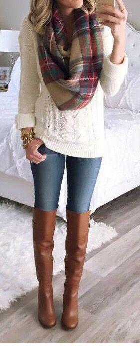 15 cute plaid blanket scarf outfits for fall 8 - 15 cute plaid blanket scarf outfits for fall