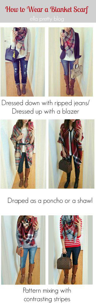 15 cute plaid blanket scarf outfits for fall - 15 cute plaid blanket scarf outfits for fall