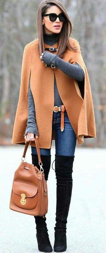 how to wear a cape outfit this fall 15 looks you can copy 2 - How to wear a cape outfit this fall -15 looks you can copy