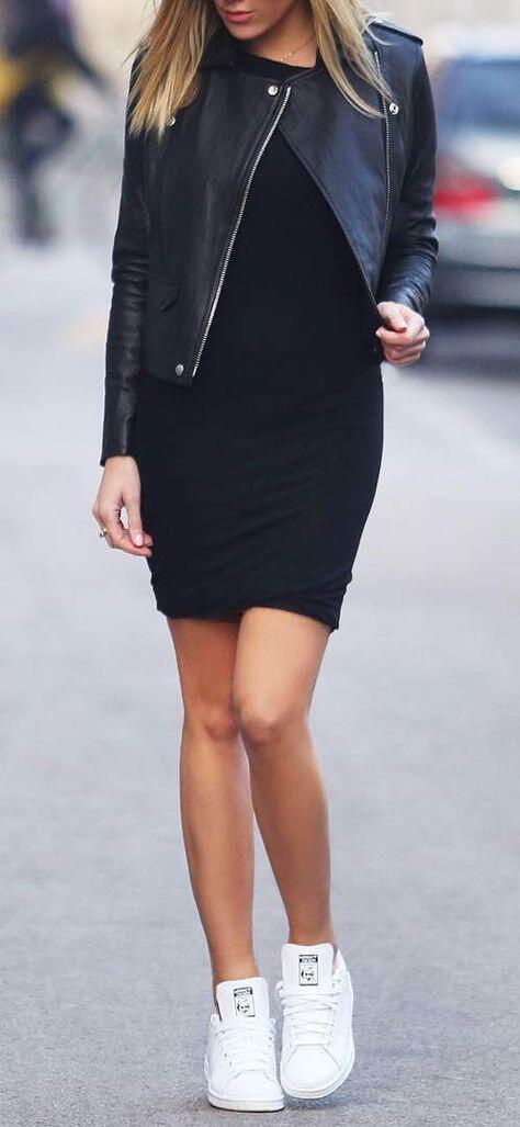 how to wear a leather jacket with a dress 30 best outfits 1 - how to wear a leather jacket with a dress, 30 best outfits